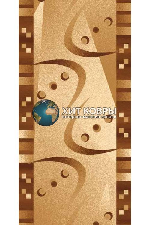 ковер в комнату дорожка d089 бежевый коричневый
